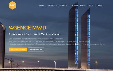 Screenshot of Home Page agence-mwd.com - Agence web Bordeaux et Mont de Marsan | Agence MWD - captured Oct. 18, 2015