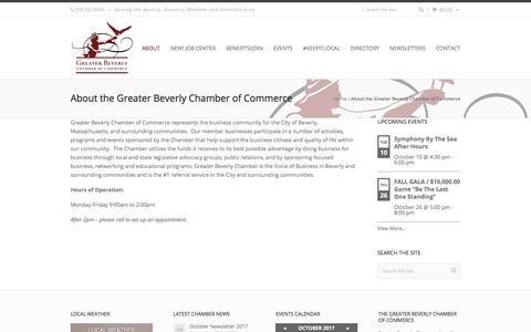 Screenshot of About Page greaterbeverlychamber.com - About the Greater Beverly Chamber of Commerce - Greater Beverly Chamber of Commerce - captured Oct. 10, 2017