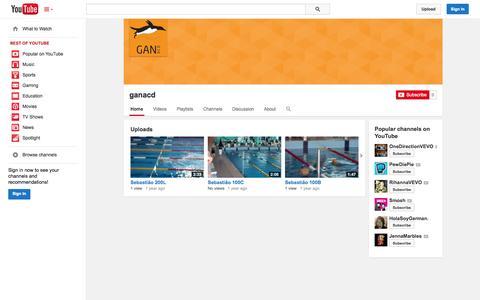 Screenshot of YouTube Page youtube.com - ganacd  - YouTube - captured Oct. 23, 2014