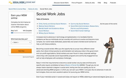 Screenshot of Jobs Page socialworklicensemap.com - Social Work Careers | Social Work Jobs | Social Work License Map - captured Feb. 17, 2018