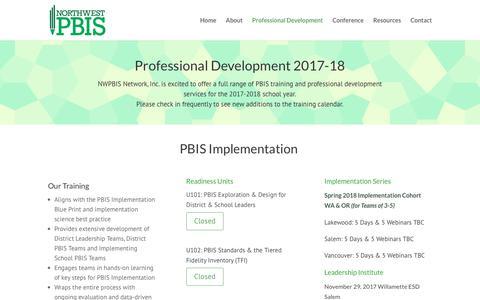 Screenshot of Services Page pbisnetwork.org - Professional Development - Northwest PBIS Network - captured Oct. 22, 2017