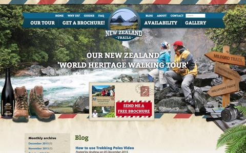 Screenshot of Press Page newzealandtrails.com - Blog | New Zealand Trails - captured Jan. 10, 2016