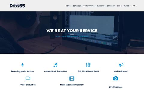 Screenshot of Services Page drive35.com - Our Services – Drive35 Productions - captured July 4, 2018