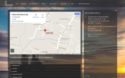 Screenshot of Contact Page plataran.com - Contact Page - captured Oct. 1, 2014