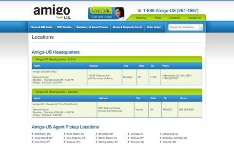Screenshot of Locations Page amigo-us.com - Amigo-US - Locations - Worldwide & United States phone rental & prepaid SIM card provider - captured Oct. 4, 2014