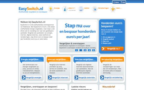 Screenshot of Home Page easyswitch.nl - Energie Vergelijken, Energie Overstappen. Onafhankelijk. - captured Jan. 22, 2015