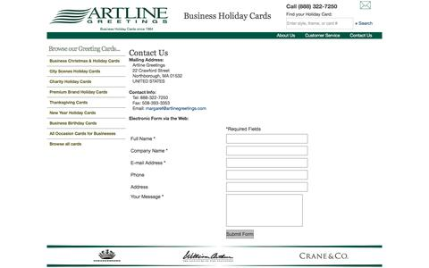 Screenshot of Contact Page artlinegreetings.com - Corporate Holiday Cards & Greeting Cards - Artline Greetings - captured July 30, 2018