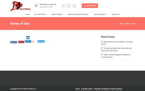 Screenshot of Terms Page fescodirect.com - Terms of Use   fescodirect.com - captured Oct. 13, 2017