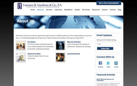 Screenshot of About Page lbgcpas.com - Fair Lawn, New Jersey Accounting Firm | About Us Page | Lawrence B. Goodman & Company - captured Oct. 2, 2014