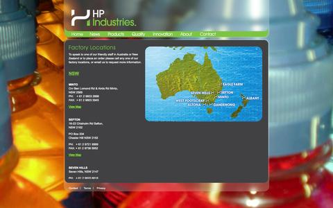 Screenshot of Locations Page hpindustries.com.au - Factory Locations | HP Industries - captured Oct. 1, 2014