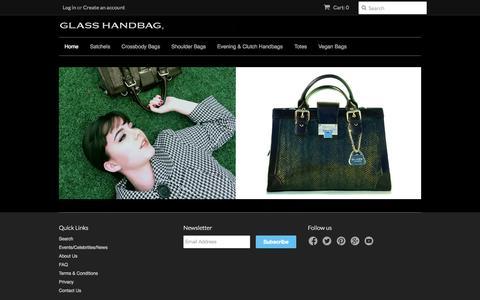 Screenshot of Home Page glasshandbag.com - Luxury, unique, designer lighted handbags – Glass Handbag - captured Sept. 30, 2014