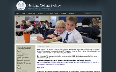Screenshot of Home Page hcs.nsw.edu.au - Christadelphian Heritage College Sydney - captured Oct. 13, 2015