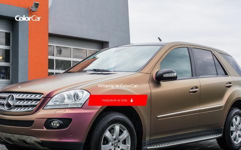 Screenshot of Home Page colorcar.pl - ColorCar – oklejanie samochodów | Grafika na pojazdach | Oklejanie aut | Zmiana koloru | Reklama na samochód – Profesjonalne oklejanie samochodów, zmiana koloru pojazdów. Folie carbonowe, metalik, matowe, perła, kameleon - captured Oct. 27, 2018
