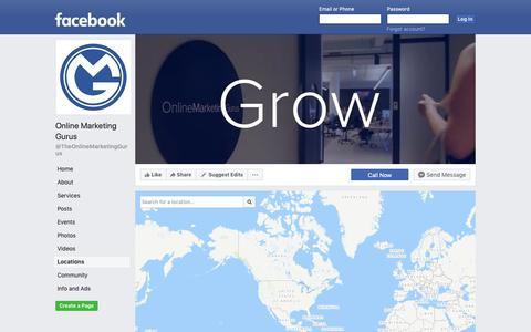 Screenshot of Locations Page facebook.com - Online Marketing Gurus - Locations | Facebook - captured Oct. 21, 2018