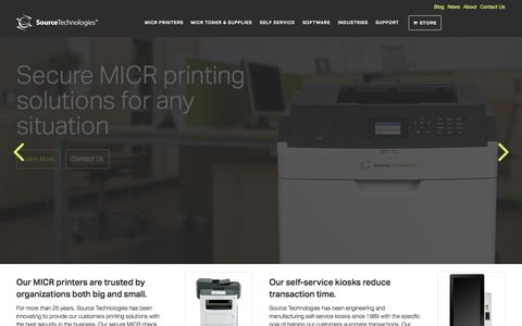 Screenshot of Home Page sourcetech.com - MICR Check Printing & Secure Document Printing | Source Technologies - captured Jan. 15, 2015