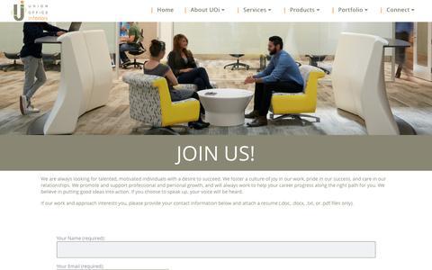 Screenshot of Jobs Page unionofficeinteriors.com - Careers - Union Office interiors - captured Aug. 11, 2016