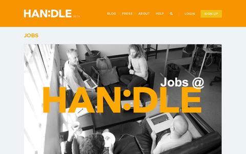 Screenshot of Jobs Page handle.com - JOBS » HANDLE - captured July 18, 2014