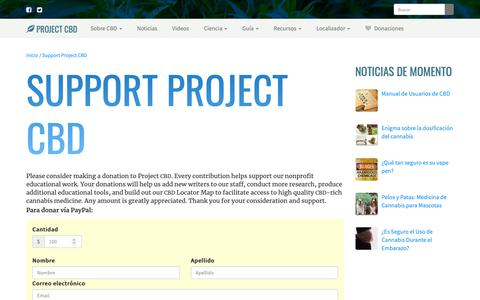 Screenshot of Support Page projectcbd.org - Support Project CBD | Project CBD - captured Dec. 20, 2018