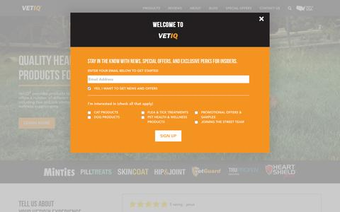 Screenshot of Home Page vetiq.com - VetIQ | Vet Recommended Quality, Affordable Pet Products by True Science - captured April 18, 2016