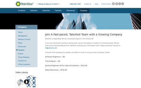 Screenshot of Jobs Page rainstor.com - Careers   RainStor - captured July 20, 2014