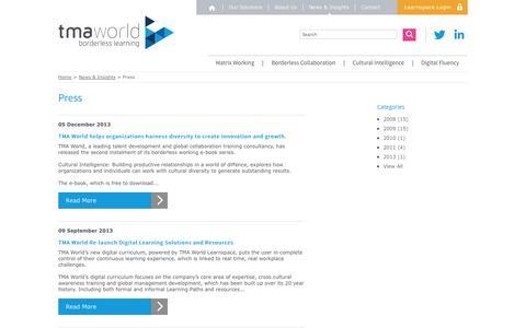 Screenshot of Press Page tmaworld.com - Press - TMA World - captured Oct. 7, 2014
