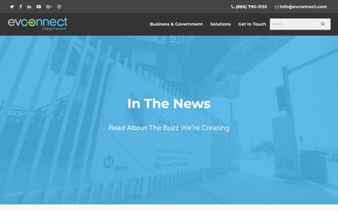 Screenshot of Press Page evconnect.com - In The News - EV Connect - captured July 12, 2018