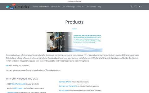 Screenshot of Products Page cimetrics.com - Products - Cimetrics - captured Oct. 26, 2019