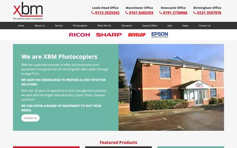 Screenshot of Home Page xbmltd.com - XBM Ltd | Photocopiers | Photocopier Leasing | Leeds | Manchester | Newcastle | London - captured Sept. 30, 2018