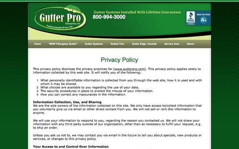 Screenshot of Privacy Page gutterpro.com - Privacy Policy - captured Nov. 15, 2016