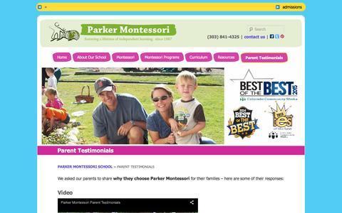 Screenshot of Testimonials Page parkermontessori.com - Parent Testimonial - Why our Parents think we are the best Infant, Toddler, Preschool Program - captured April 15, 2016