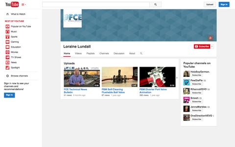 Screenshot of YouTube Page youtube.com - Loraine Lundall  - YouTube - captured Oct. 23, 2014