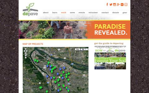 Screenshot of Maps & Directions Page depave.org - Depave. From Parking Lots to Paradise   Map of Projects - captured Sept. 30, 2014