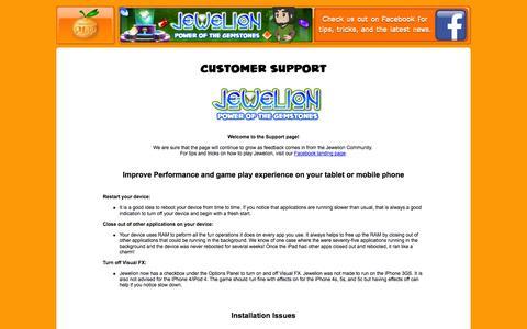 Screenshot of Support Page tangerinepop.com - Tangerine POP: Customer Support - captured Oct. 1, 2014