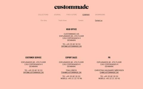Screenshot of Contact Page custommade.dk - Custommade – See the Autumn Collection 2014  | contact us - captured Sept. 30, 2014
