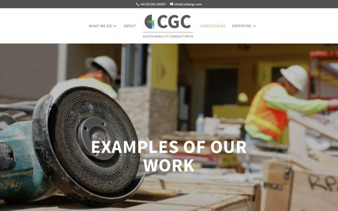 Screenshot of Case Studies Page carbongc.com - Case studies of our developments | CGC - captured Oct. 21, 2016