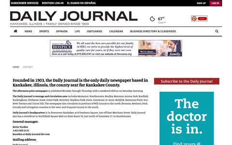 Screenshot of Contact Page daily-journal.com - Contact | daily-journal.com - captured Sept. 22, 2018