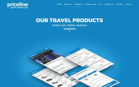 Screenshot of Products Page pricelinepartnernetwork.com - Priceline Partner Network - Our Travel Products - captured May 22, 2017