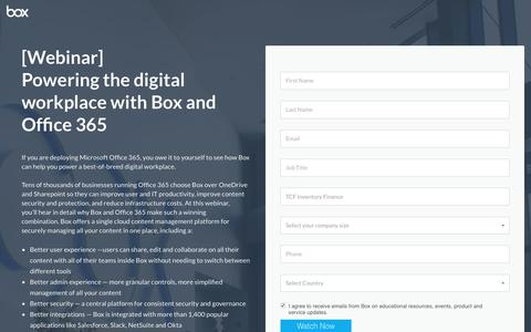 Screenshot of Landing Page box.com - Powering the digital workplace with Box and Office 365 - captured Sept. 19, 2018