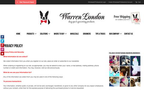 Screenshot of Privacy Page warrenlondon.com - Privacy Policy – Warren London - captured June 11, 2017
