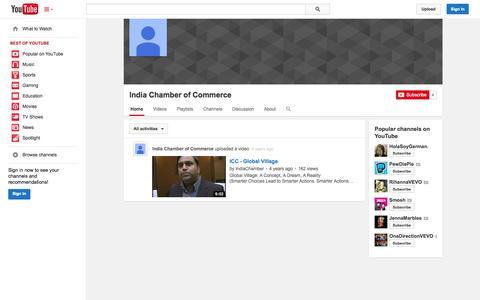 Screenshot of YouTube Page youtube.com - India Chamber of Commerce  - YouTube - captured Oct. 23, 2014