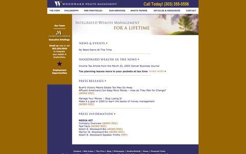 Screenshot of Press Page woodwardwealth.com - News   - captured Oct. 7, 2014
