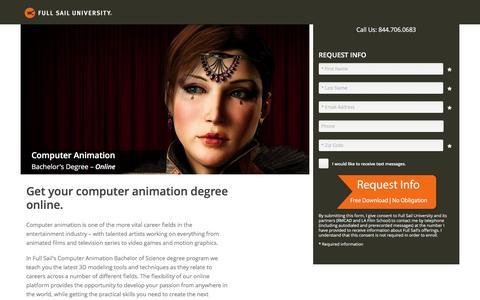 Screenshot of Landing Page fullsail.edu - ion marketing experience platform - captured Nov. 4, 2016