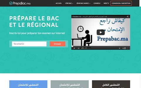 Screenshot of Home Page prepabac.ma - Examen Baccalauréat Et Régional Maroc - Prepabac.ma - captured March 15, 2016
