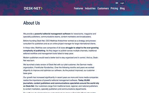 Screenshot of About Page desk-net.com - About Us | Desk-Net - captured Oct. 8, 2018