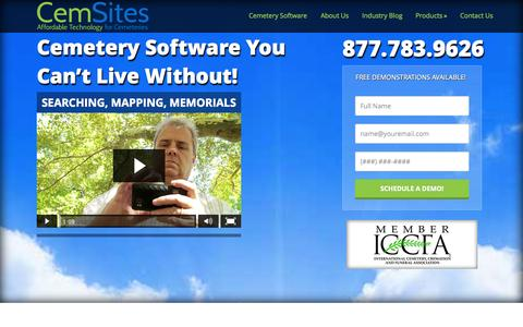 Screenshot of Home Page cemsites.com - Cemetery Software - Mapping, Records, Memorials - captured Oct. 2, 2014