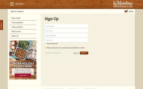 Screenshot of Signup Page lamadeleine.com - order.lamadeleine.com | Sign Up - captured Oct. 21, 2018