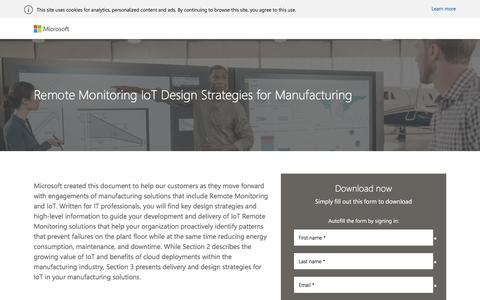 Screenshot of Landing Page microsoft.com - Remote Monitoring IoT Design Strategies for Manufacturing - captured March 3, 2018