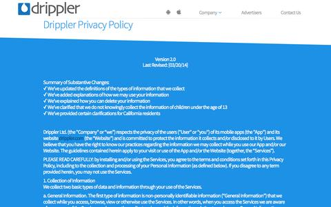 Screenshot of Privacy Page drippler.com - Privacy Policy | Drippler - captured Oct. 28, 2014