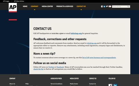 Screenshot of Contact Page ap.org - Contact AP - captured Oct. 29, 2014