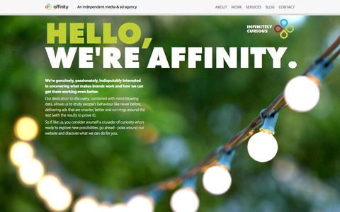Screenshot of Home Page affinity.ad - Affinity - An independent media & ad agency - captured Oct. 4, 2014